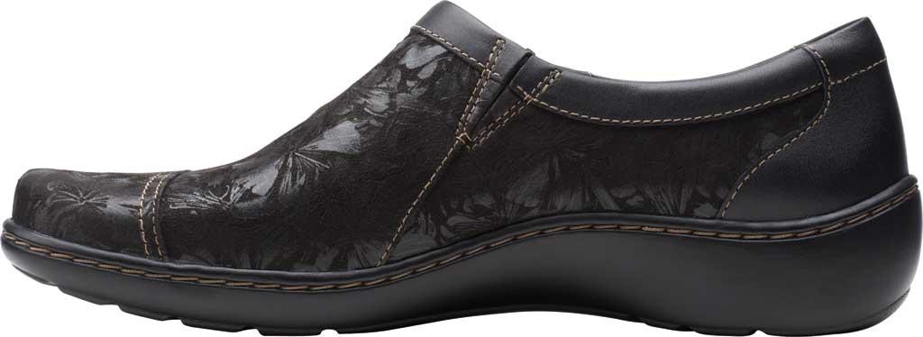 Women's Clarks Cora Giny Slip On, Black Textile/Leather, large, image 3