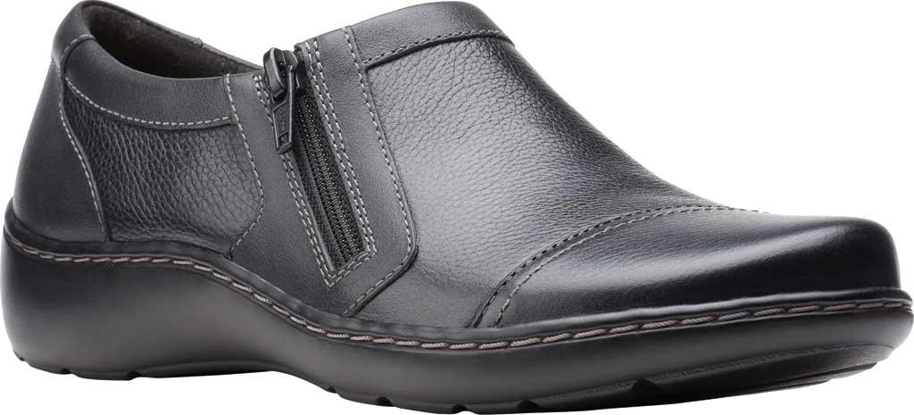 Women's Clarks Cora Giny Slip On, Black Tumbled/Smooth Leather, large, image 1