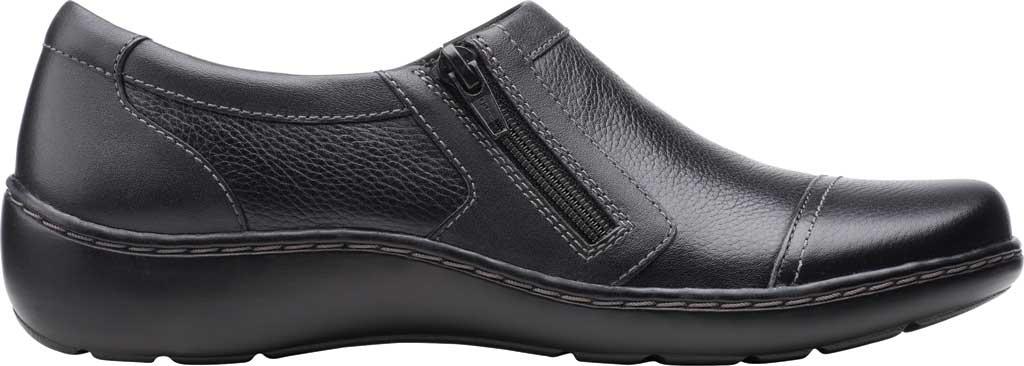 Women's Clarks Cora Giny Slip On, Black Tumbled/Smooth Leather, large, image 2