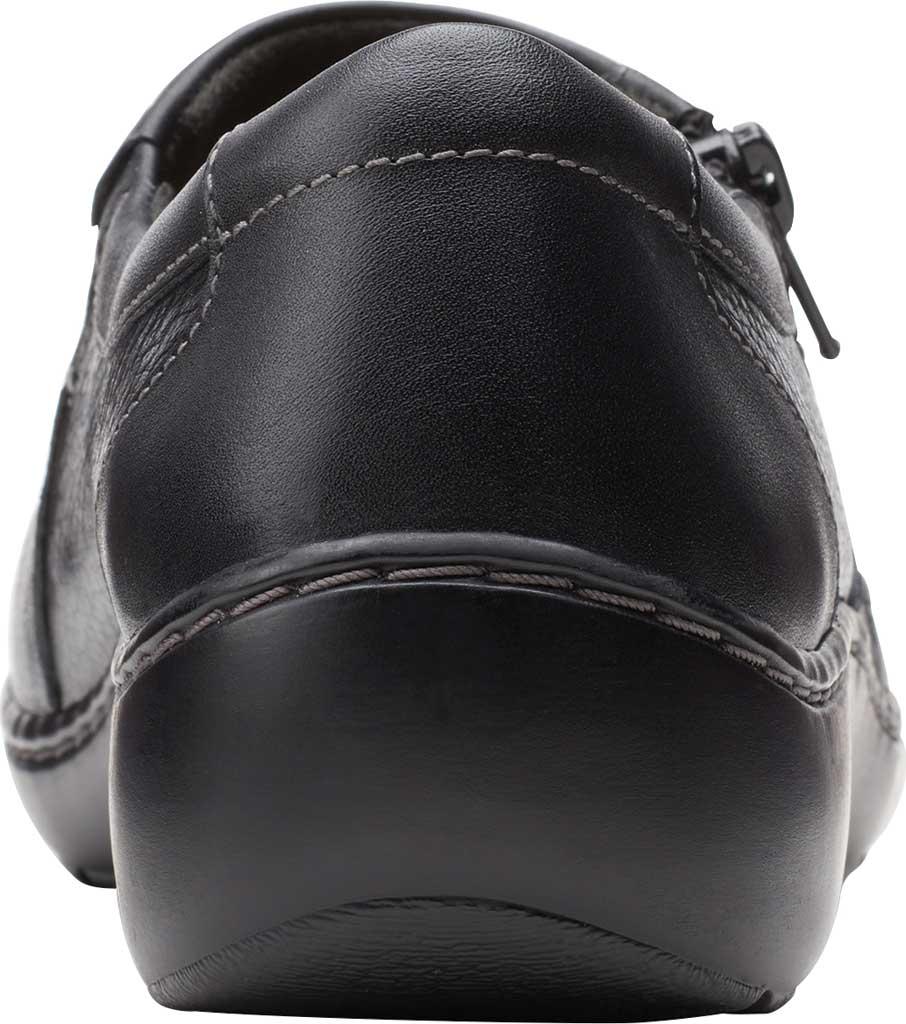 Women's Clarks Cora Giny Slip On, Black Tumbled/Smooth Leather, large, image 4