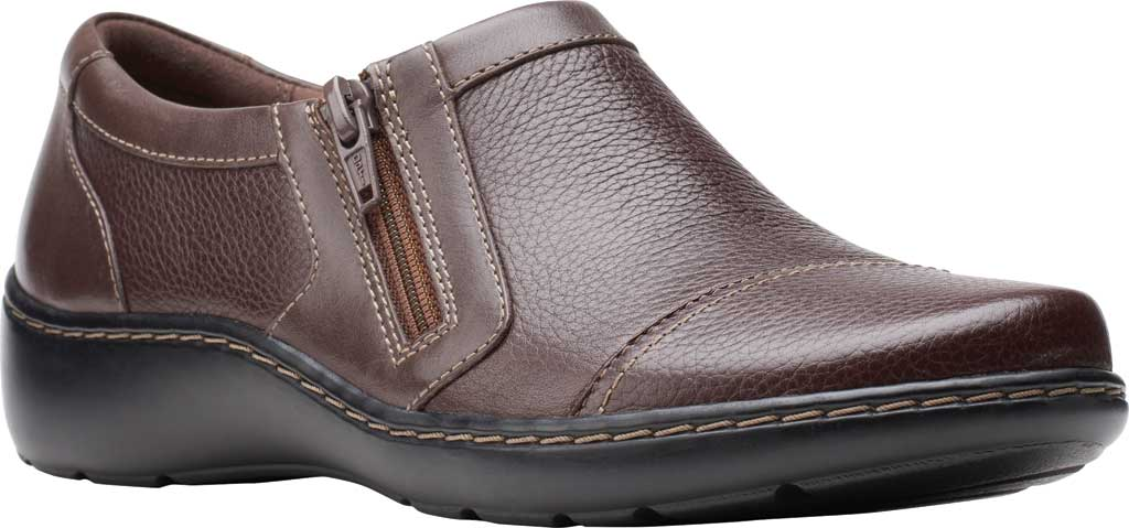 Women's Clarks Cora Giny Slip On, Dark Brown Tumbled/Smooth Leather, large, image 1