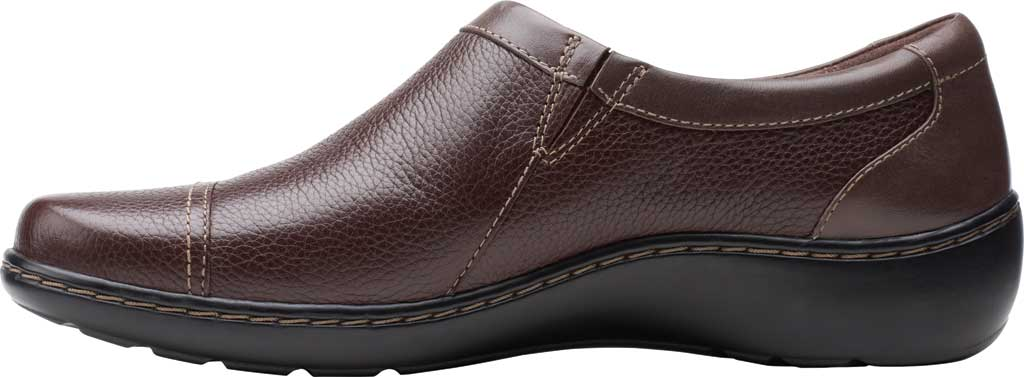 Women's Clarks Cora Giny Slip On, Dark Brown Tumbled/Smooth Leather, large, image 3