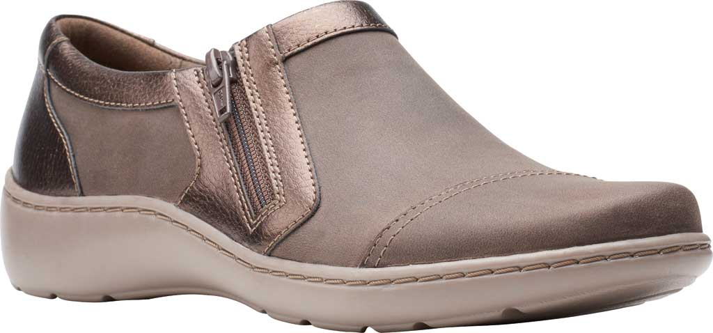 Women's Clarks Cora Giny Slip On, Taupe/Bronze Synthetic/Leather, large, image 1