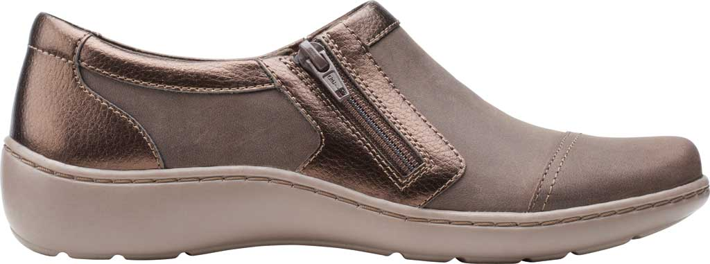 Women's Clarks Cora Giny Slip On, Taupe/Bronze Synthetic/Leather, large, image 2