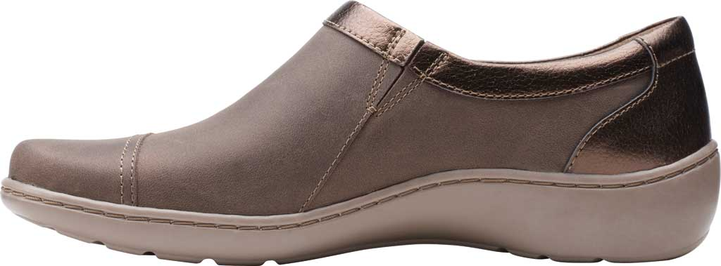 Women's Clarks Cora Giny Slip On, Taupe/Bronze Synthetic/Leather, large, image 3