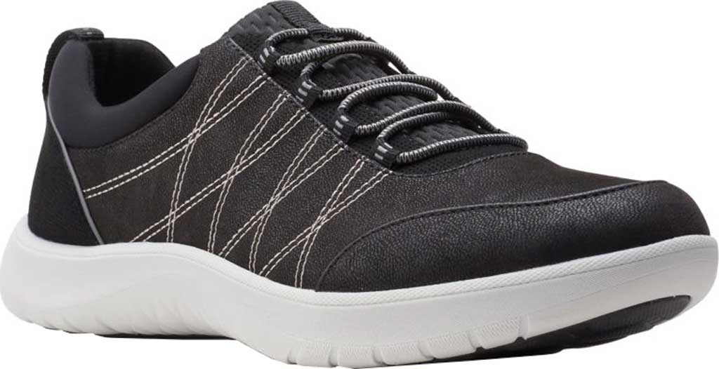 Women's Clarks Adella Holly Sneaker, Black Textile, large, image 1