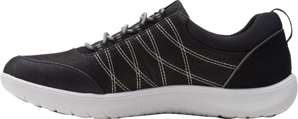 Women's Clarks Adella Holly Sneaker, Black Textile, large, image 3