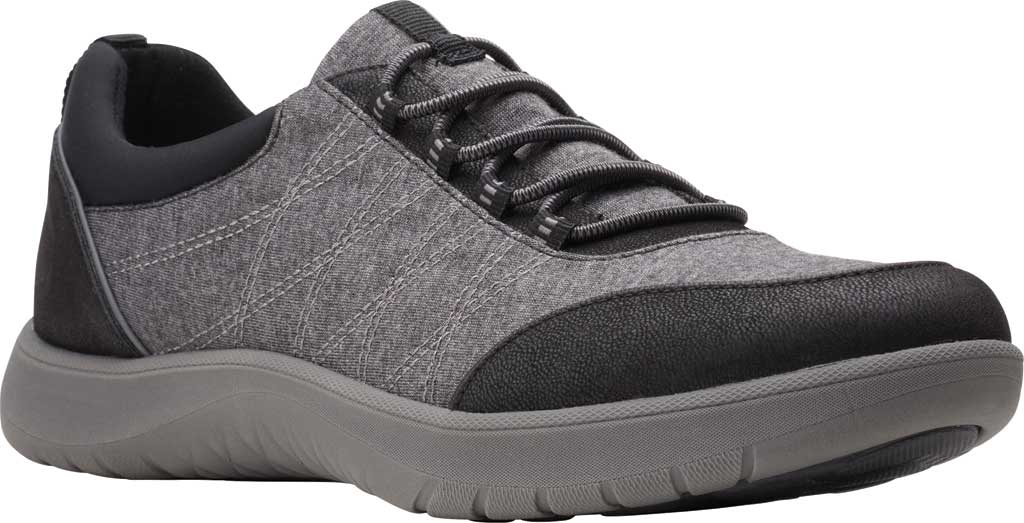 Women's Clarks Adella Holly Sneaker, Black Heathered Textile, large, image 1