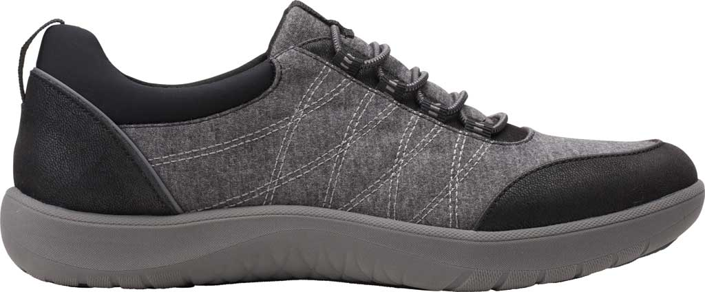 Women's Clarks Adella Holly Sneaker, Black Heathered Textile, large, image 2
