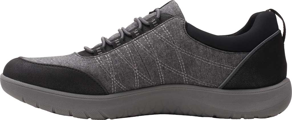 Women's Clarks Adella Holly Sneaker, Black Heathered Textile, large, image 3
