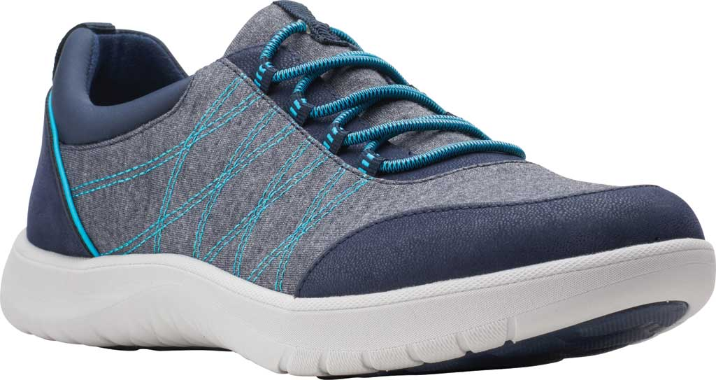 Women's Clarks Adella Holly Sneaker, Navy Heathered Textile, large, image 1