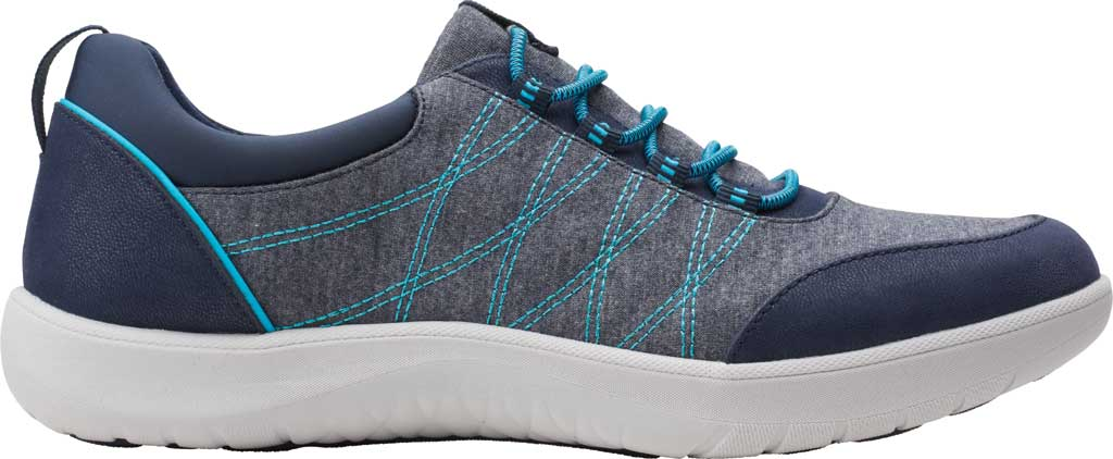 Women's Clarks Adella Holly Sneaker, Navy Heathered Textile, large, image 2