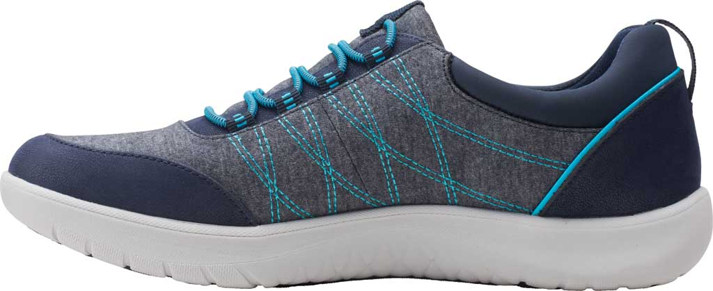 Women's Clarks Adella Holly Sneaker, Navy Heathered Textile, large, image 3