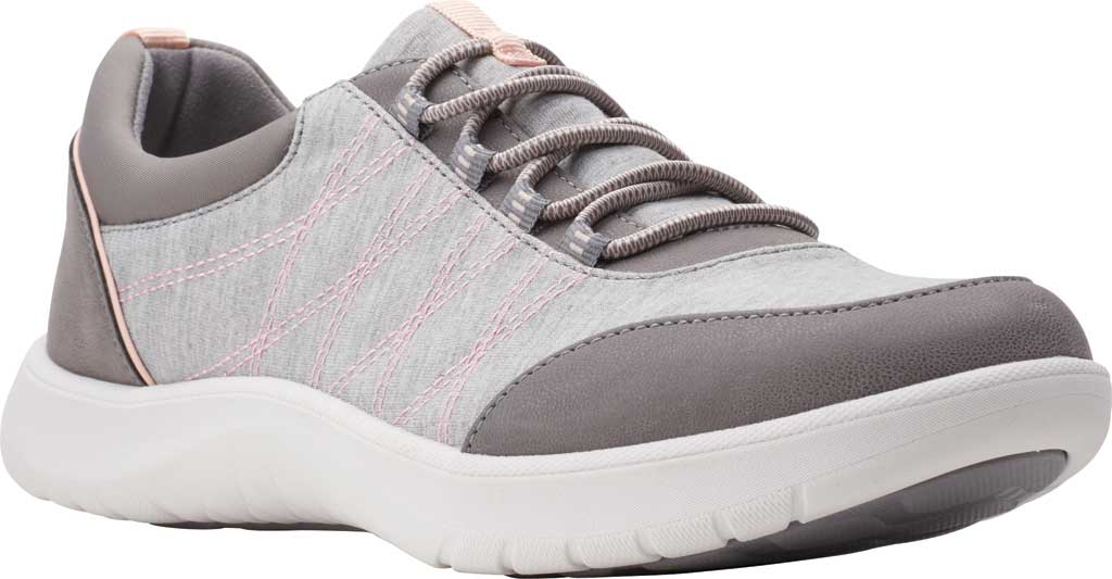 Women's Clarks Adella Holly Sneaker, Grey Heathered Textile, large, image 1