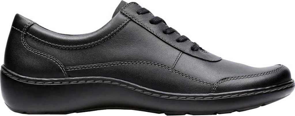 Women's Clarks Cora Calica Sneaker, Black Leather, large, image 1