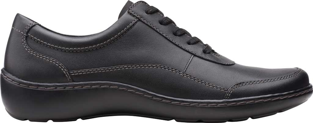 Women's Clarks Cora Calica Sneaker, Black Leather, large, image 2