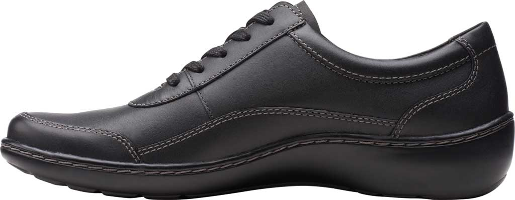 Women's Clarks Cora Calica Sneaker, Black Leather, large, image 3