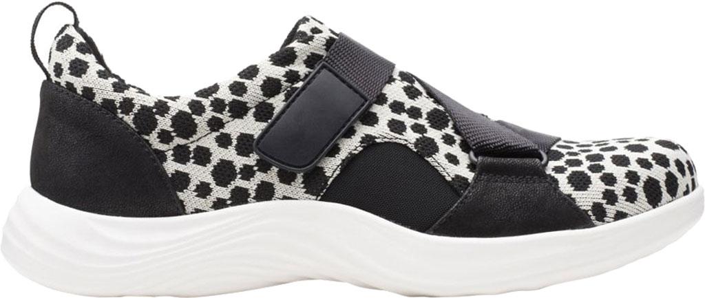 Women's Clarks Lulu Go Sneaker, Black/White Interest Textile, large, image 2