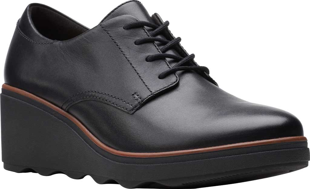 Women's Clarks Mazy Hyannis Wedge Oxford, Black Leather, large, image 1