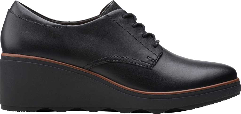 Women's Clarks Mazy Hyannis Wedge Oxford, Black Leather, large, image 2