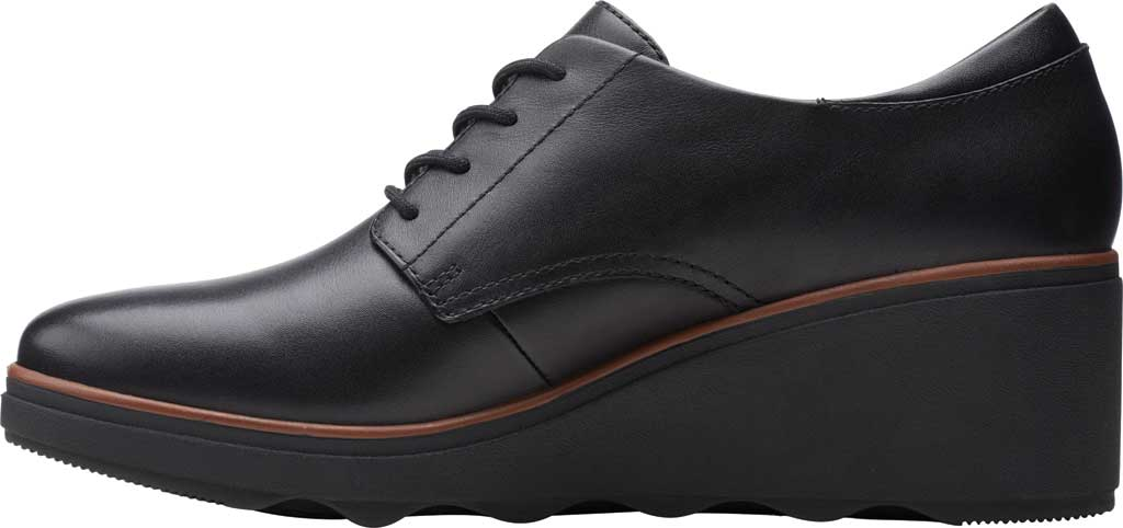 Women's Clarks Mazy Hyannis Wedge Oxford, Black Leather, large, image 3
