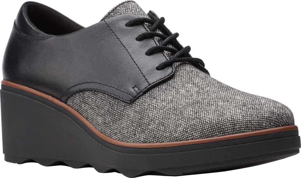 Women's Clarks Mazy Hyannis Wedge Oxford, Tweed Textile, large, image 1