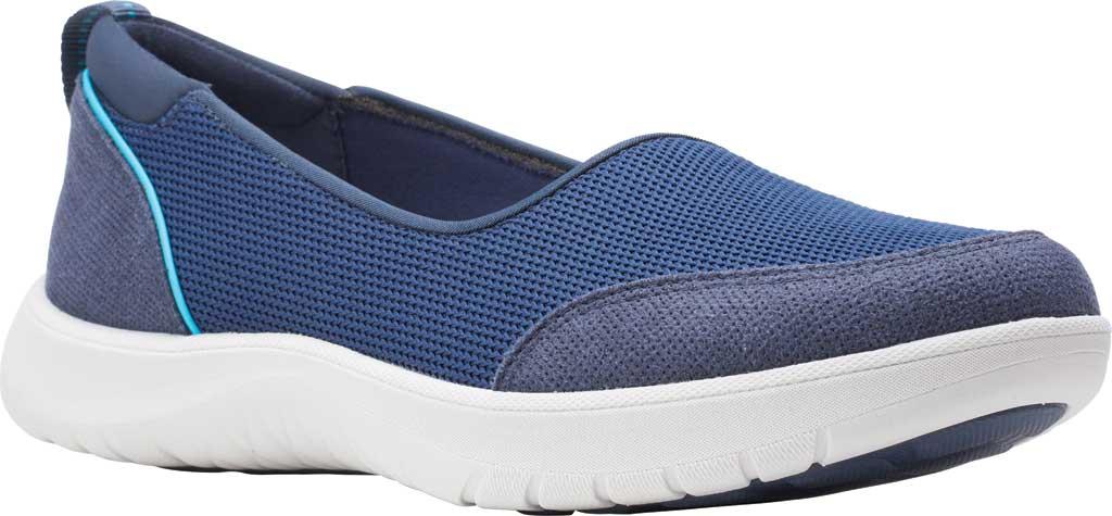 Women's Clarks Adella Blush Slip On Sneaker, Navy Textile, large, image 1