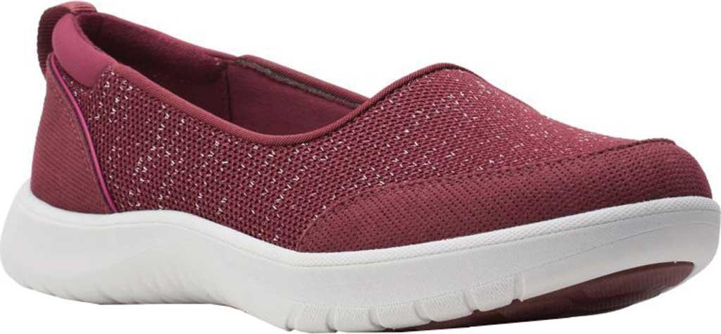 Women's Clarks Adella Blush Slip On Sneaker, Burgundy Sparkle Textile, large, image 1