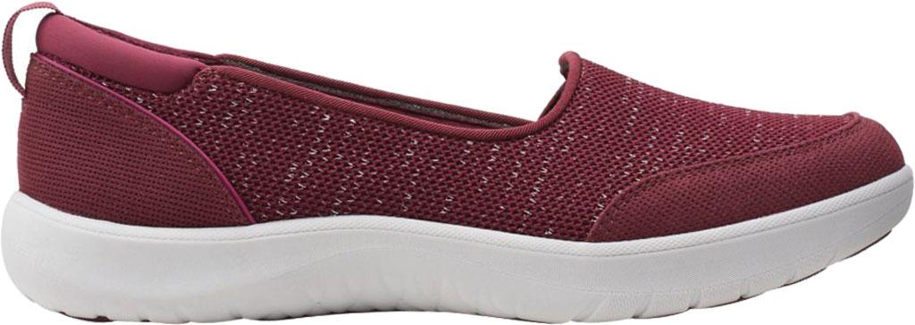 Women's Clarks Adella Blush Slip On Sneaker, Burgundy Sparkle Textile, large, image 2