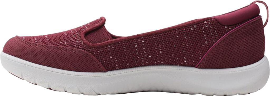 Women's Clarks Adella Blush Slip On Sneaker, Burgundy Sparkle Textile, large, image 3