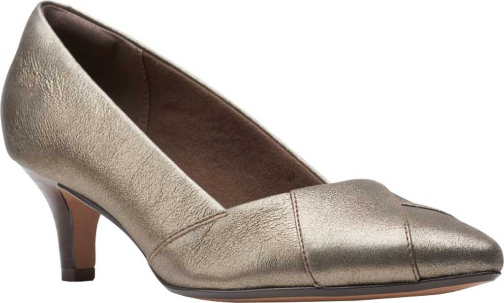 Women's Clarks Linvale Sage Pointed Toe Pump, Metallic Full Grain Leather, large, image 1