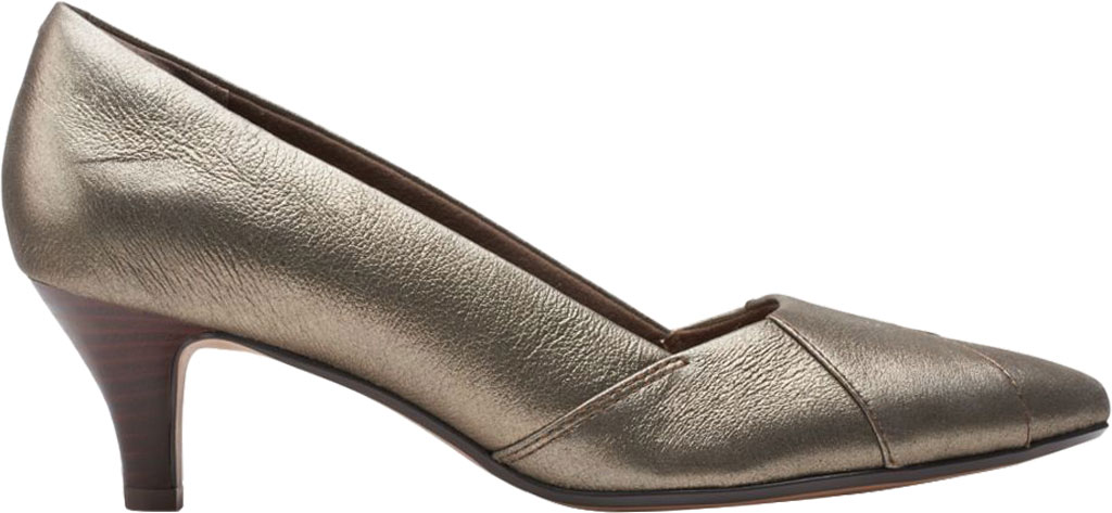 Women's Clarks Linvale Sage Pointed Toe Pump, Metallic Full Grain Leather, large, image 2