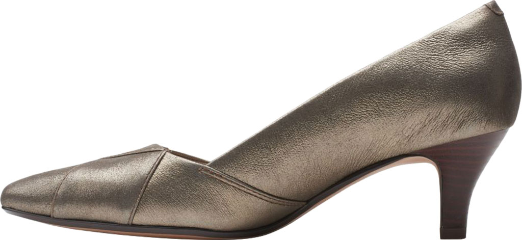 Women's Clarks Linvale Sage Pointed Toe Pump, Metallic Full Grain Leather, large, image 3