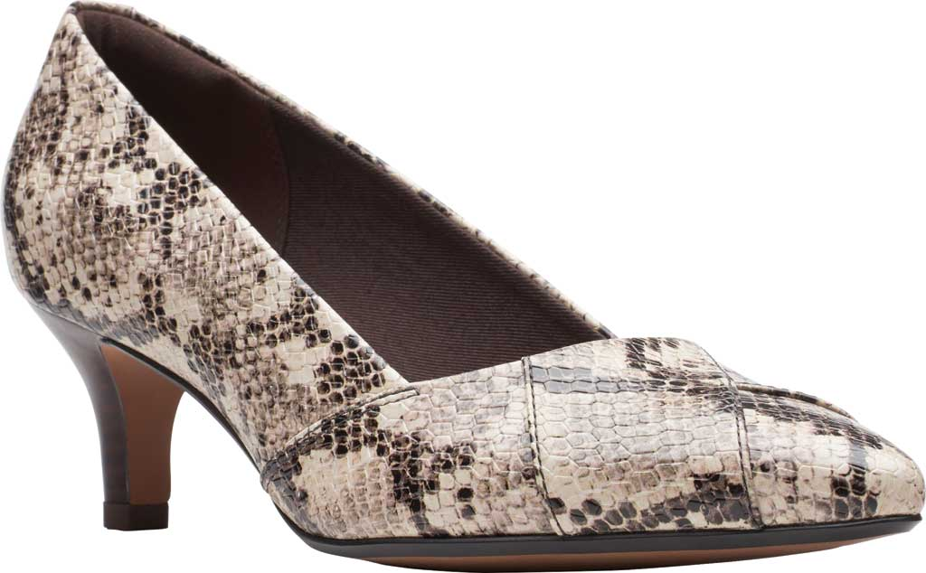 Women's Clarks Linvale Sage Pointed Toe Pump, Taupe Snake Full Grain Leather, large, image 1