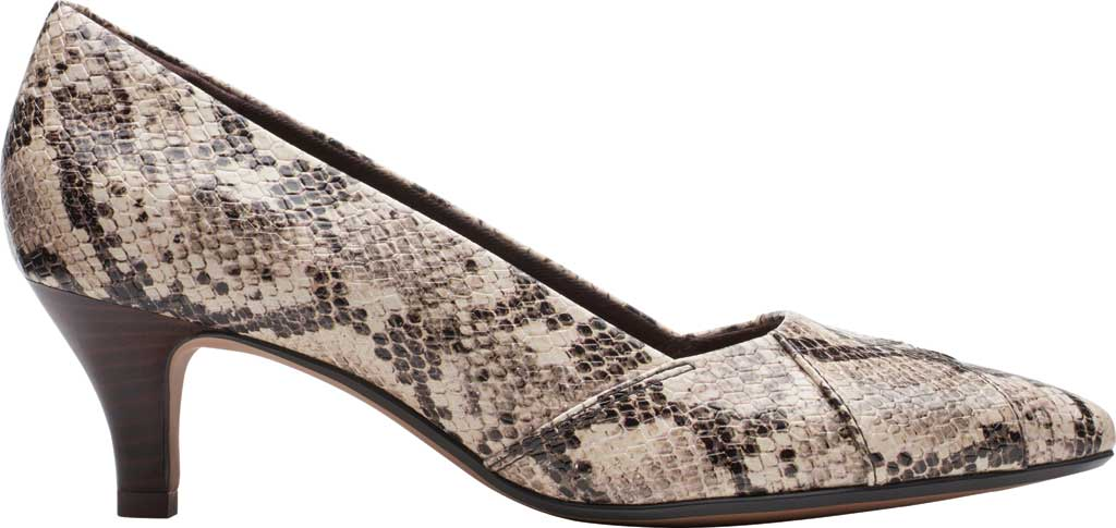 Women's Clarks Linvale Sage Pointed Toe Pump, Taupe Snake Full Grain Leather, large, image 2
