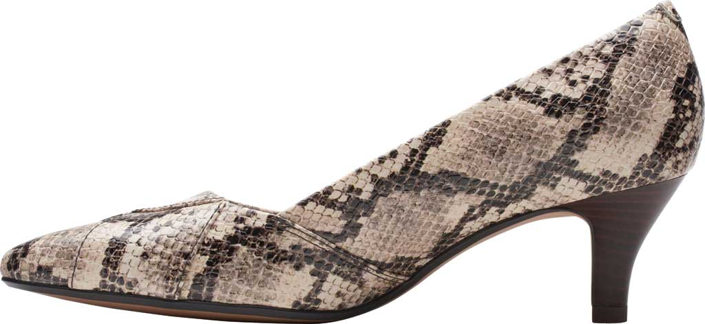 Women's Clarks Linvale Sage Pointed Toe Pump, Taupe Snake Full Grain Leather, large, image 3