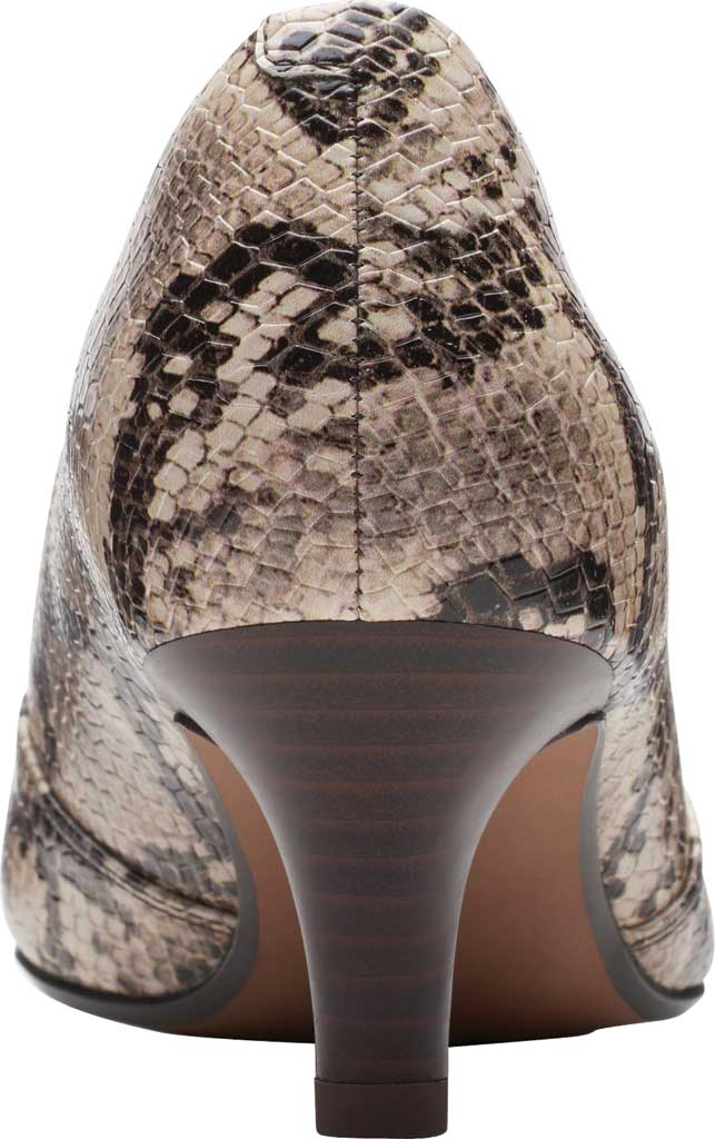 Women's Clarks Linvale Sage Pointed Toe Pump, Taupe Snake Full Grain Leather, large, image 4
