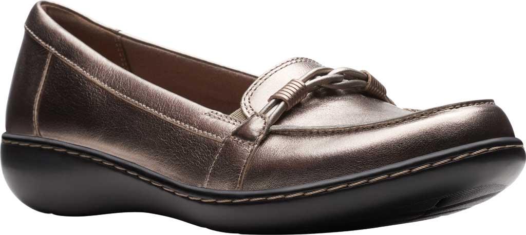 Women's Clarks Ashland Ballot Loafer, Pewter Metallic Leather, large, image 1