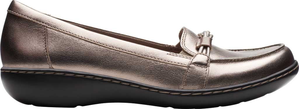 Women's Clarks Ashland Ballot Loafer, Pewter Metallic Leather, large, image 2
