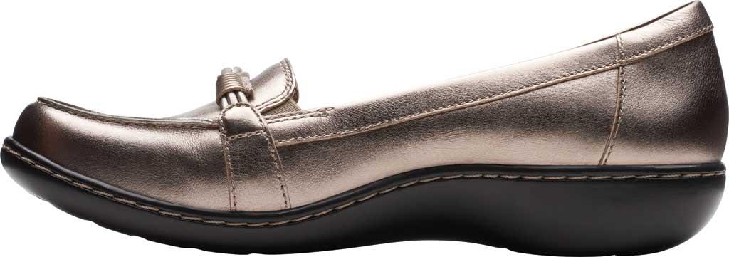 Women's Clarks Ashland Ballot Loafer, Pewter Metallic Leather, large, image 3