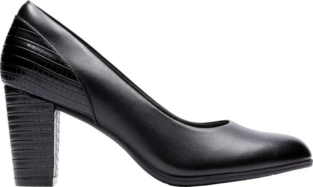 Women's Clarks Alayna Ray Pump, Black Leather/Synthetic, large, image 1