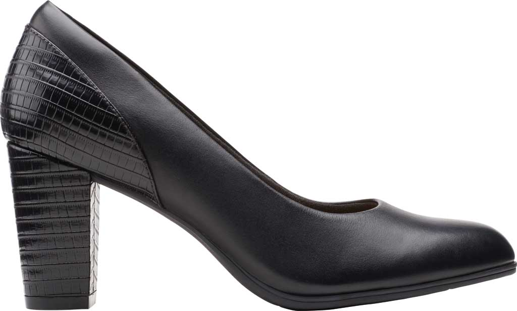 Women's Clarks Alayna Ray Pump, Black Leather/Synthetic, large, image 2