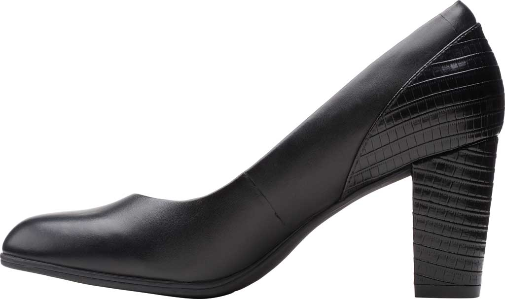 Women's Clarks Alayna Ray Pump, Black Leather/Synthetic, large, image 3