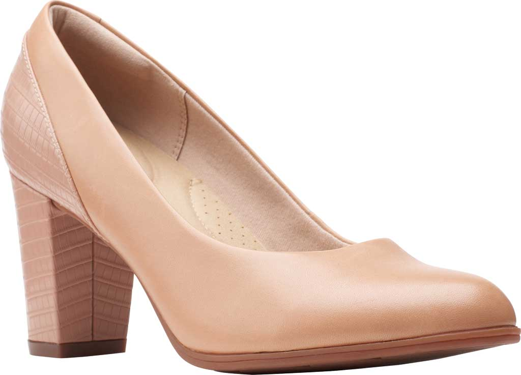 Women's Clarks Alayna Ray Pump, Praline Leather/Combi Synthetic, large, image 1