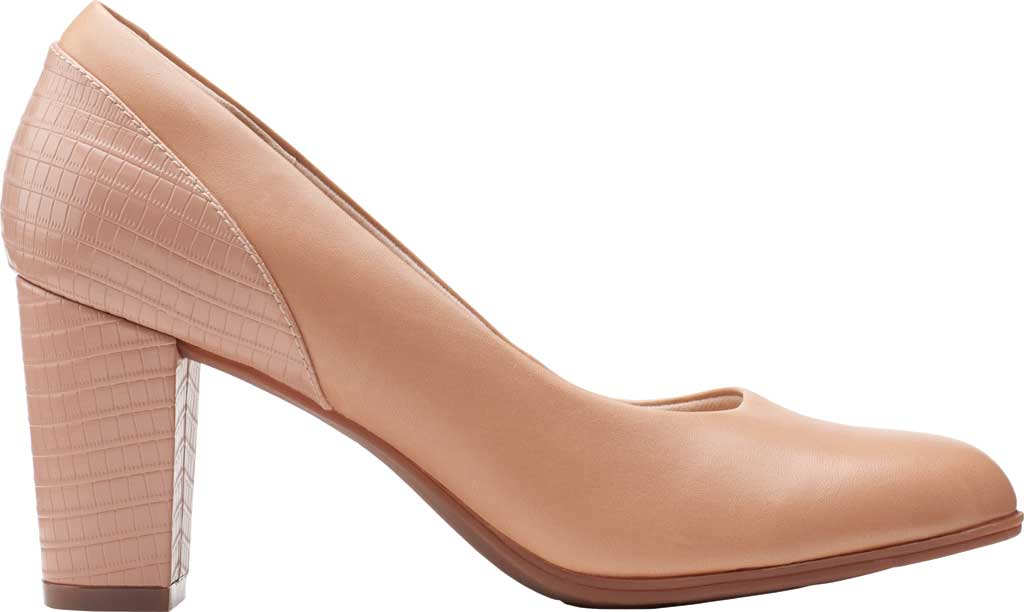 Women's Clarks Alayna Ray Pump, Praline Leather/Combi Synthetic, large, image 2