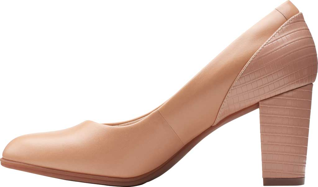 Women's Clarks Alayna Ray Pump, Praline Leather/Combi Synthetic, large, image 3