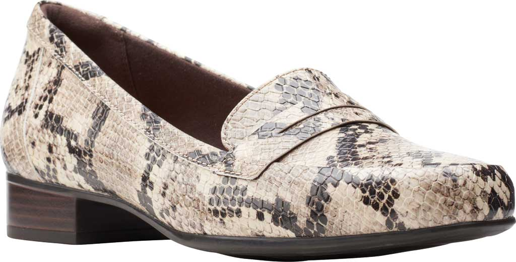 Women's Clarks Juliet Coast Penny Loafer, Taupe Snake Synthetic Leather, large, image 1