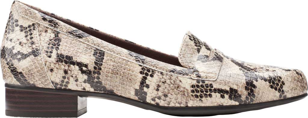 Women's Clarks Juliet Coast Penny Loafer, Taupe Snake Synthetic Leather, large, image 2