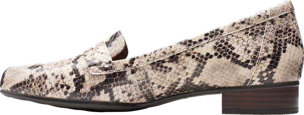 Women's Clarks Juliet Coast Penny Loafer, Taupe Snake Synthetic Leather, large, image 3