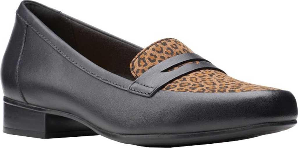Women's Clarks Juliet Coast Penny Loafer, Black/Leopard Leather/Synthetic, large, image 1